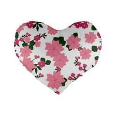 Vintage Floral Wallpaper Background In Shades Of Pink Standard 16  Premium Flano Heart Shape Cushions