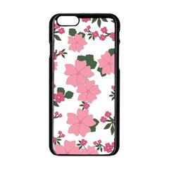 Vintage Floral Wallpaper Background In Shades Of Pink Apple iPhone 6/6S Black Enamel Case