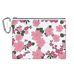 Vintage Floral Wallpaper Background In Shades Of Pink Canvas Cosmetic Bag (L)