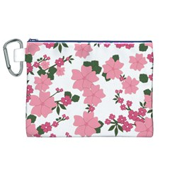 Vintage Floral Wallpaper Background In Shades Of Pink Canvas Cosmetic Bag (xl)