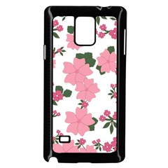 Vintage Floral Wallpaper Background In Shades Of Pink Samsung Galaxy Note 4 Case (black)