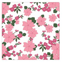Vintage Floral Wallpaper Background In Shades Of Pink Large Satin Scarf (square)