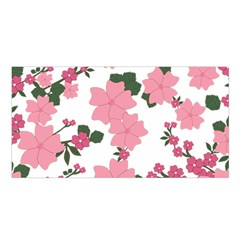 Vintage Floral Wallpaper Background In Shades Of Pink Satin Shawl