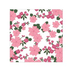 Vintage Floral Wallpaper Background In Shades Of Pink Small Satin Scarf (square)