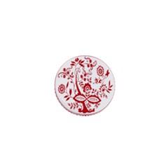 Red Vintage Floral Flowers Decorative Pattern 1  Mini Buttons
