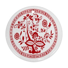 Red Vintage Floral Flowers Decorative Pattern Ornament (round)