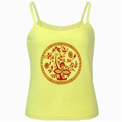 Red Vintage Floral Flowers Decorative Pattern Yellow Spaghetti Tank