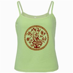 Red Vintage Floral Flowers Decorative Pattern Green Spaghetti Tank
