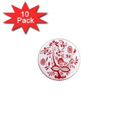 Red Vintage Floral Flowers Decorative Pattern 1  Mini Magnet (10 Pack)