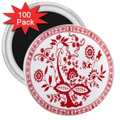 Red Vintage Floral Flowers Decorative Pattern 3  Magnets (100 Pack)