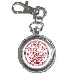 Red Vintage Floral Flowers Decorative Pattern Key Chain Watches