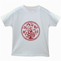 Red Vintage Floral Flowers Decorative Pattern Kids White T-Shirts