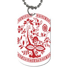 Red Vintage Floral Flowers Decorative Pattern Dog Tag (Two Sides)