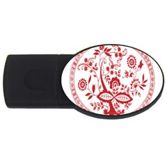 Red Vintage Floral Flowers Decorative Pattern Usb Flash Drive Oval (4 Gb)