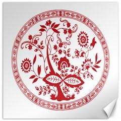 Red Vintage Floral Flowers Decorative Pattern Canvas 12  X 12