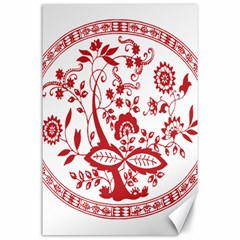 Red Vintage Floral Flowers Decorative Pattern Canvas 24  X 36