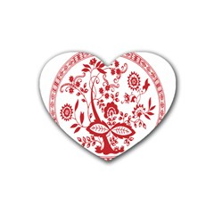 Red Vintage Floral Flowers Decorative Pattern Rubber Coaster (heart)