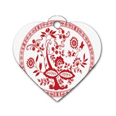 Red Vintage Floral Flowers Decorative Pattern Dog Tag Heart (Two Sides)