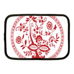 Red Vintage Floral Flowers Decorative Pattern Netbook Case (Medium)
