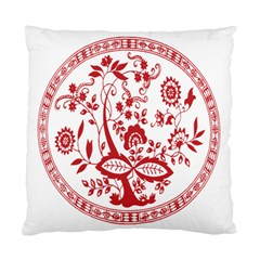 Red Vintage Floral Flowers Decorative Pattern Standard Cushion Case (Two Sides)