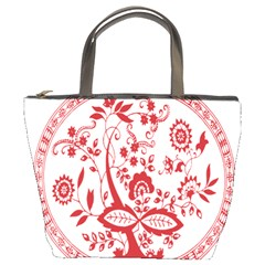 Red Vintage Floral Flowers Decorative Pattern Bucket Bags