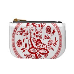 Red Vintage Floral Flowers Decorative Pattern Mini Coin Purses