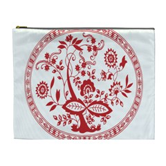 Red Vintage Floral Flowers Decorative Pattern Cosmetic Bag (xl)