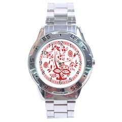 Red Vintage Floral Flowers Decorative Pattern Stainless Steel Analogue Watch