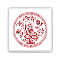 Red Vintage Floral Flowers Decorative Pattern Memory Card Reader (square)