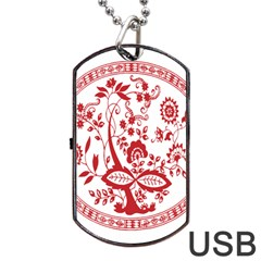 Red Vintage Floral Flowers Decorative Pattern Dog Tag USB Flash (One Side)
