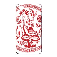Red Vintage Floral Flowers Decorative Pattern Apple iPhone 4/4s Seamless Case (Black)