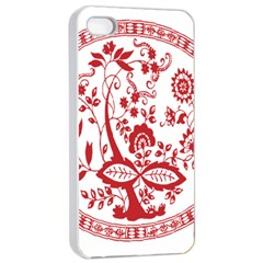 Red Vintage Floral Flowers Decorative Pattern Apple Iphone 4/4s Seamless Case (white)