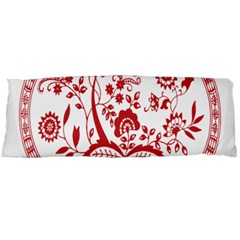 Red Vintage Floral Flowers Decorative Pattern Body Pillow Case (Dakimakura)