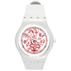 Red Vintage Floral Flowers Decorative Pattern Round Plastic Sport Watch (M)
