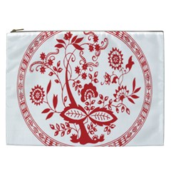 Red Vintage Floral Flowers Decorative Pattern Cosmetic Bag (XXL)
