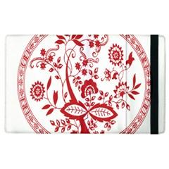 Red Vintage Floral Flowers Decorative Pattern Apple iPad 2 Flip Case