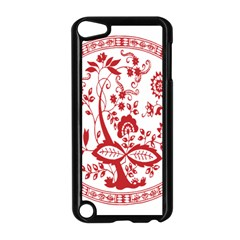 Red Vintage Floral Flowers Decorative Pattern Apple iPod Touch 5 Case (Black)