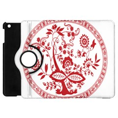 Red Vintage Floral Flowers Decorative Pattern Apple iPad Mini Flip 360 Case