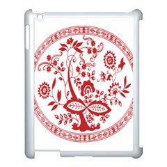 Red Vintage Floral Flowers Decorative Pattern Apple Ipad 3/4 Case (white)