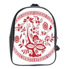 Red Vintage Floral Flowers Decorative Pattern School Bags (XL)