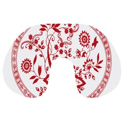 Red Vintage Floral Flowers Decorative Pattern Travel Neck Pillows