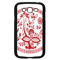 Red Vintage Floral Flowers Decorative Pattern Samsung Galaxy Grand DUOS I9082 Case (Black)