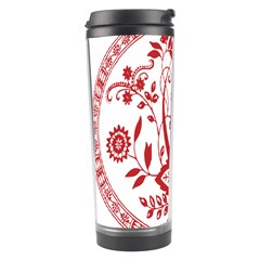 Red Vintage Floral Flowers Decorative Pattern Travel Tumbler