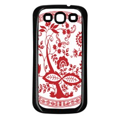 Red Vintage Floral Flowers Decorative Pattern Samsung Galaxy S3 Back Case (Black)