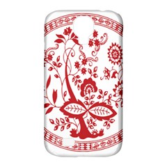 Red Vintage Floral Flowers Decorative Pattern Samsung Galaxy S4 Classic Hardshell Case (PC+Silicone)