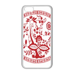 Red Vintage Floral Flowers Decorative Pattern Apple iPhone 5C Seamless Case (White)