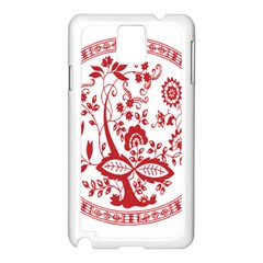 Red Vintage Floral Flowers Decorative Pattern Samsung Galaxy Note 3 N9005 Case (White)