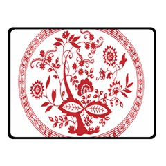 Red Vintage Floral Flowers Decorative Pattern Double Sided Fleece Blanket (Small)