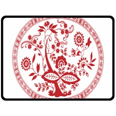 Red Vintage Floral Flowers Decorative Pattern Double Sided Fleece Blanket (Large)