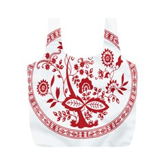 Red Vintage Floral Flowers Decorative Pattern Full Print Recycle Bags (M)